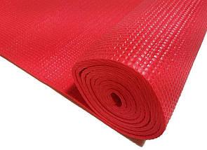 Професійний килимок для йоги, фітнесу та аеробіки 1730×610×4мм, колір червоний, фото 3