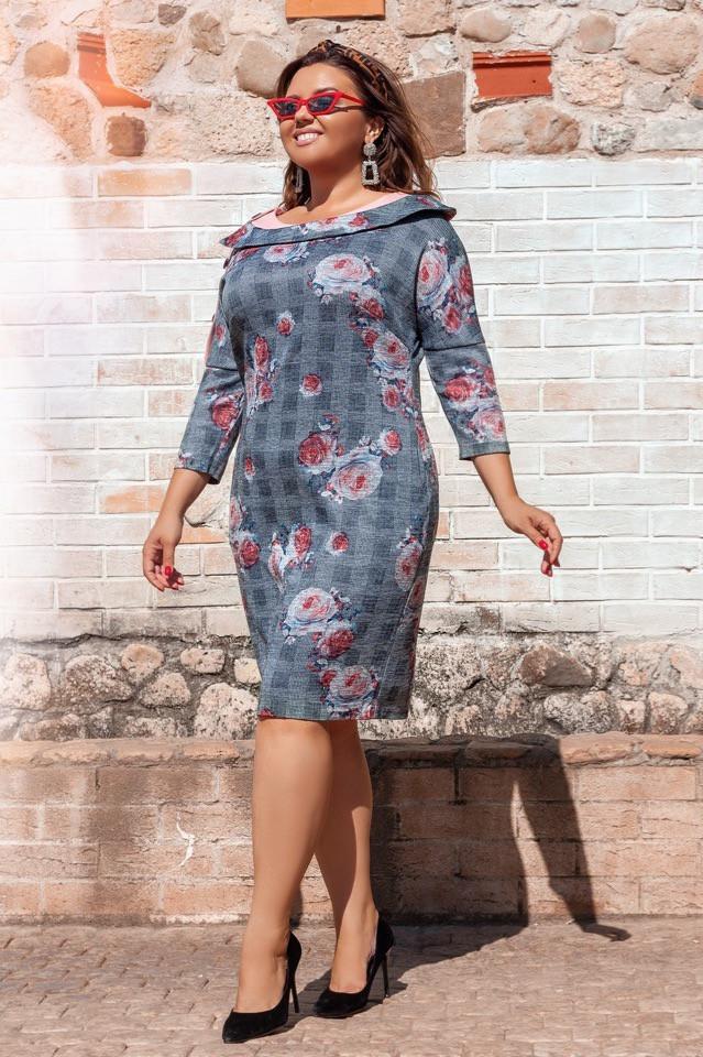Платье  БАТАЛ ангора в расцветках 49263