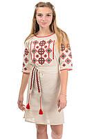 Женское вышитое платье цвет бежевый, фото 1