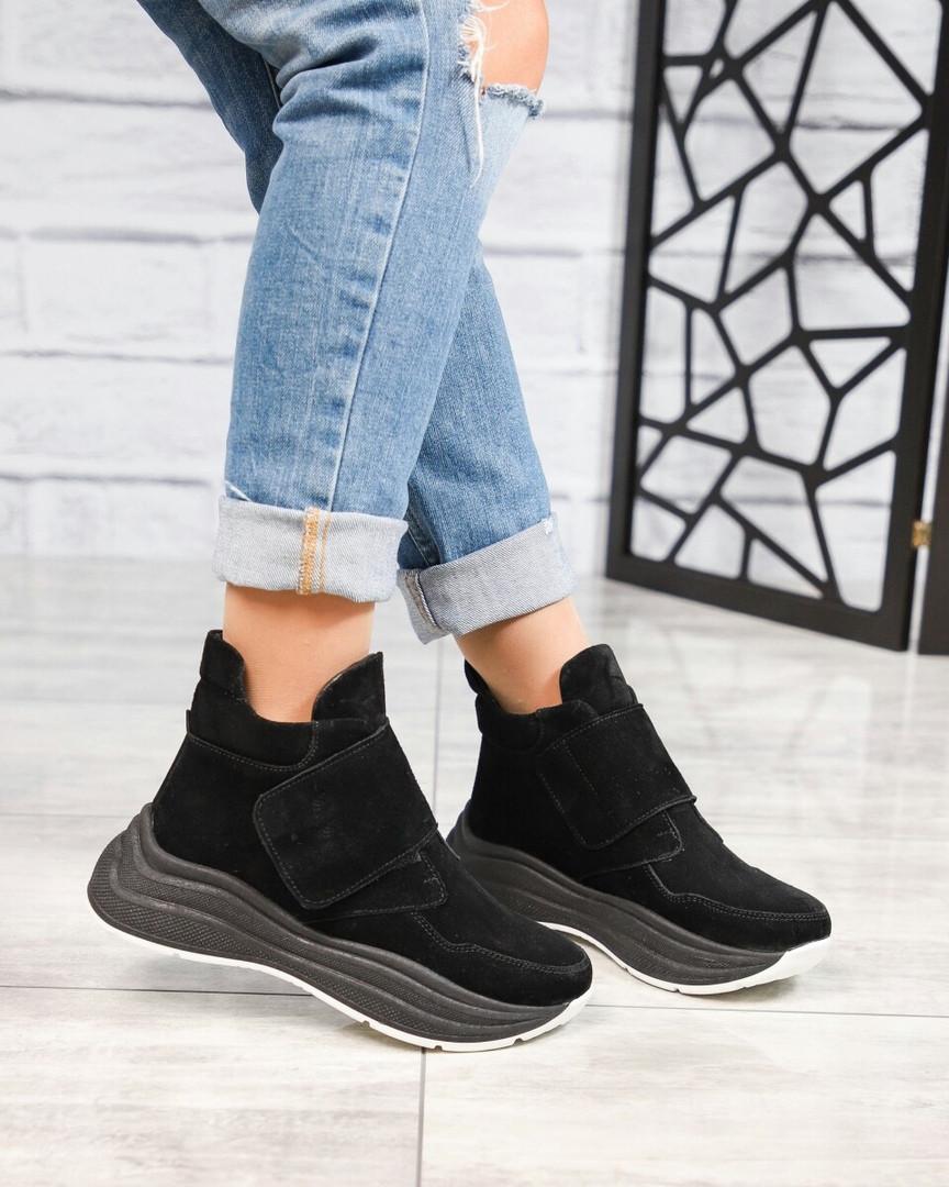 Демисезонные спортивные ботинки замшевые черные