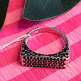 Серебряное кольцо с эмалью и черными камнями - Кольцо печатка серебро 925, фото 8