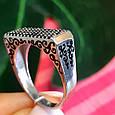 Серебряное кольцо с эмалью и черными камнями - Кольцо печатка серебро 925, фото 5