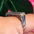 Серебряное кольцо с эмалью и черными камнями - Кольцо печатка серебро 925, фото 2