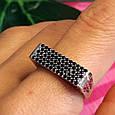 Серебряное кольцо с эмалью и черными камнями - Кольцо печатка серебро 925, фото 3
