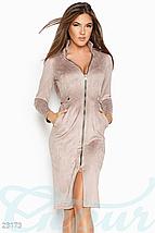 Повседневное приталенное платье миди с карманами цвет темно-коричневый, фото 3