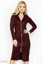 Повседневное приталенное платье миди с карманами цвет темно-коричневый, фото 2