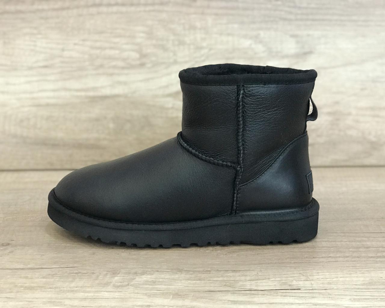 Угги черные кожаные Мини Классик II, UGG Mini Classic II Metallic Black
