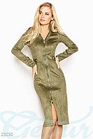 Демисезонное платье на змейке до колен длинный рукав  цвет оливковый