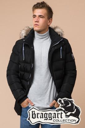 Мужская черная зимняя куртка с мехом (р. 46-56) арт. 20128Q
