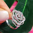 Серебряное родированное кольцо Роза с фианитами, фото 6