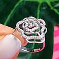 Серебряное родированное кольцо Роза с фианитами, фото 8