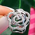 Серебряное родированное кольцо Роза с фианитами, фото 7