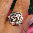 Серебряное родированное кольцо Роза с фианитами, фото 5