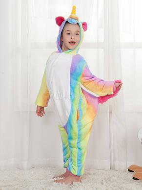 Детская пижама кигуруми единорог радужный   155, фото 2