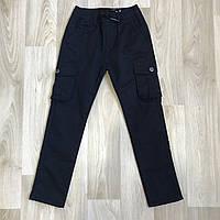 Котонові штани на флісі, з накладними карманами, для підлітків на зріст 134-164см. Виробник S&D Польша