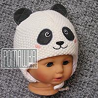 Зимняя тёплая термо р 42-44 5-9 мес вязаная шапочка для девочки новорожденных малышей зима 4918 Бежевый 44