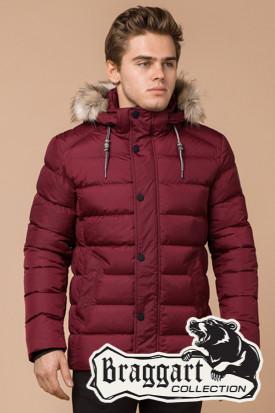 Мужская красная зимняя куртка с мехом (р. 46-56) арт. 16115N