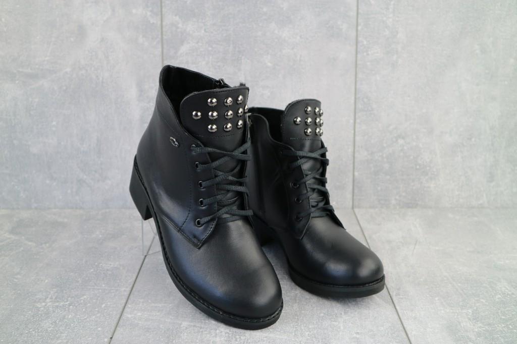 Ботинки женские зимние Sezar из натуральной кожи чёрные