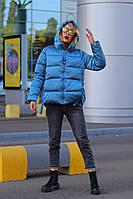 Стильная женская куртка пудра синяя S M L XL