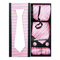 Набор галстук, запонки и платок в серо-розовую полоску в подарочной коробке.