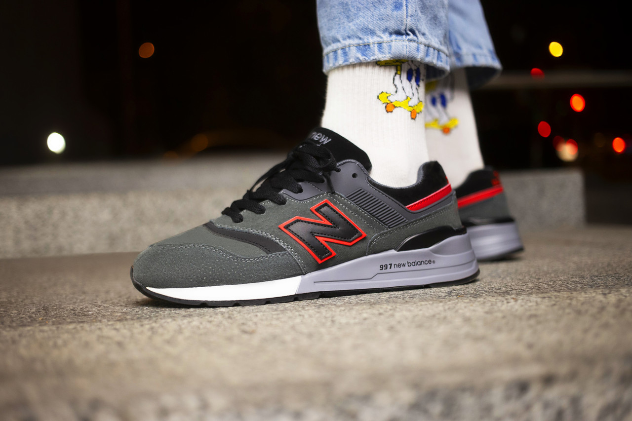 Мужские кроссовки  New Balance 997 Grey Red ( Реплика )