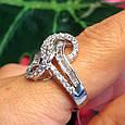 """Серебряное родированное кольцо с фианитами """"багет"""" - Брендовое стильное кольцо серебро, фото 4"""