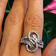 """Серебряное родированное кольцо с фианитами """"багет"""" - Брендовое стильное кольцо серебро, фото 3"""