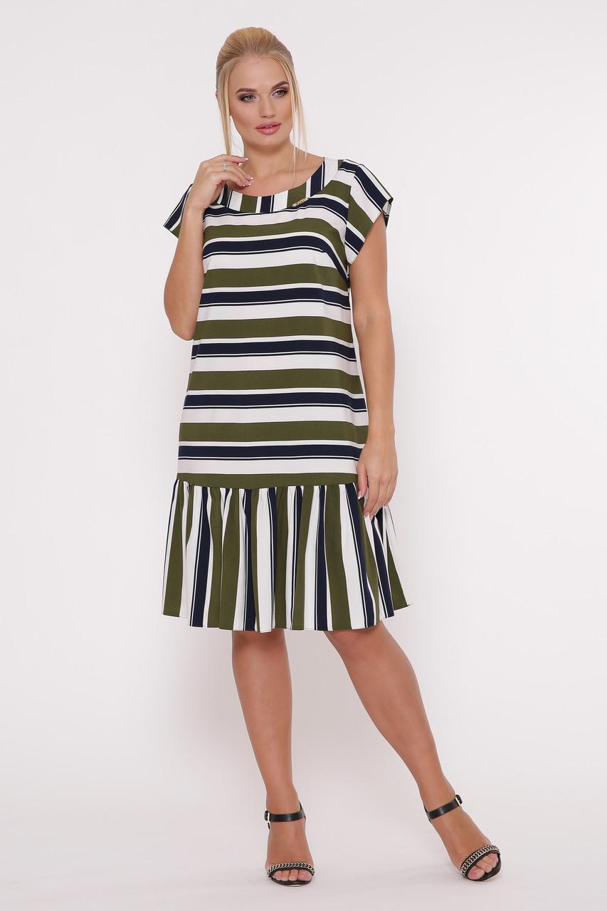 Платье женское Яна полоса оливка