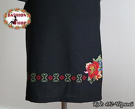 Женское вышитое чёрное платье Богатство, фото 3