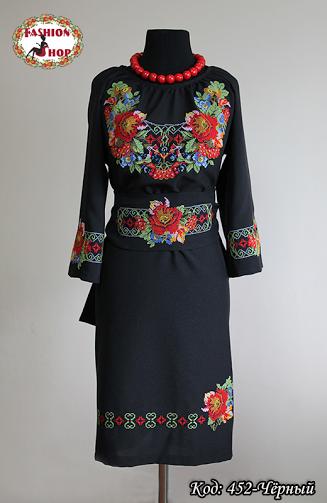 Женское вышитое чёрное платье Богатство