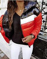 Куртка женская демисезонная утепленная (норма и батал). Цвета- желтый, чёрный, красный (М480)
