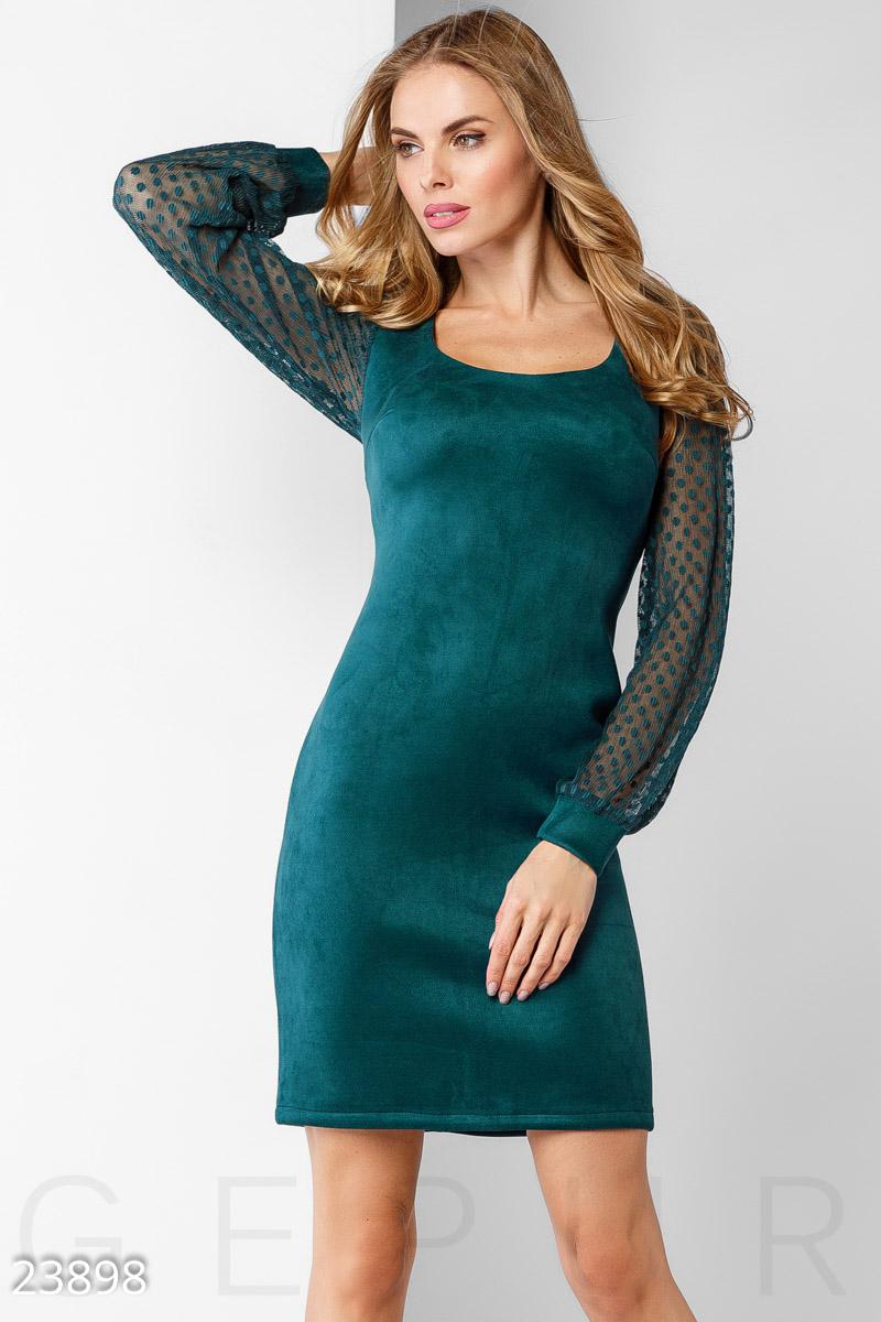 Демисезонное платье по фигуре выше колен цвет морская волна