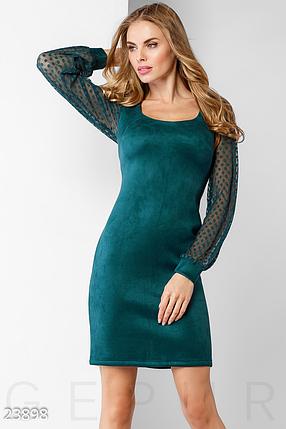 Демисезонное платье по фигуре выше колен цвет морская волна, фото 2