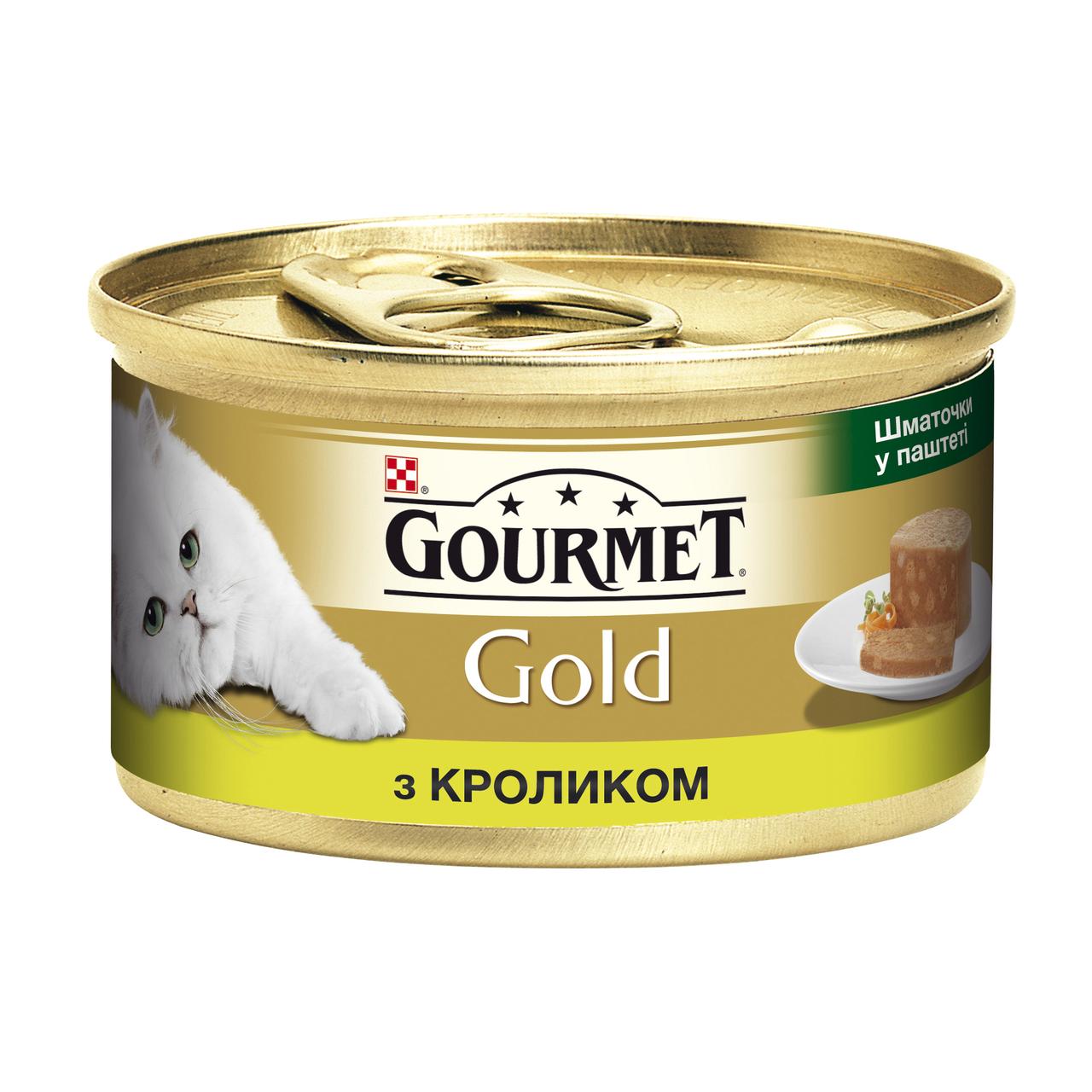 Влажный корм для кошек Gourmet Gold Pieces in Pate Rabbit 85 г x 12 шт (кролик)