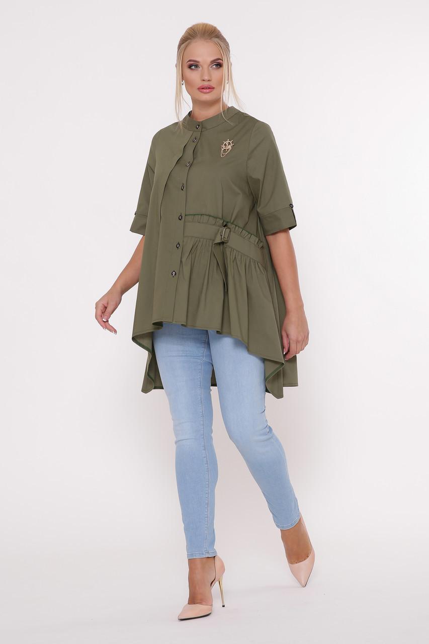 Рубашка женская Уля оливка
