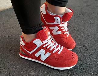 Кроссовки New Balance 574 Red красные зимние с мехом реплика