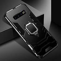 Бронированный чехол IRON MAN с кольцом под магнит для Samsung Galaxy S10 Plus / Samsung Galaxy S10+