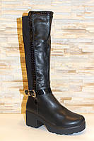 Сапоги женские черные высокие на удобном каблуке Д611