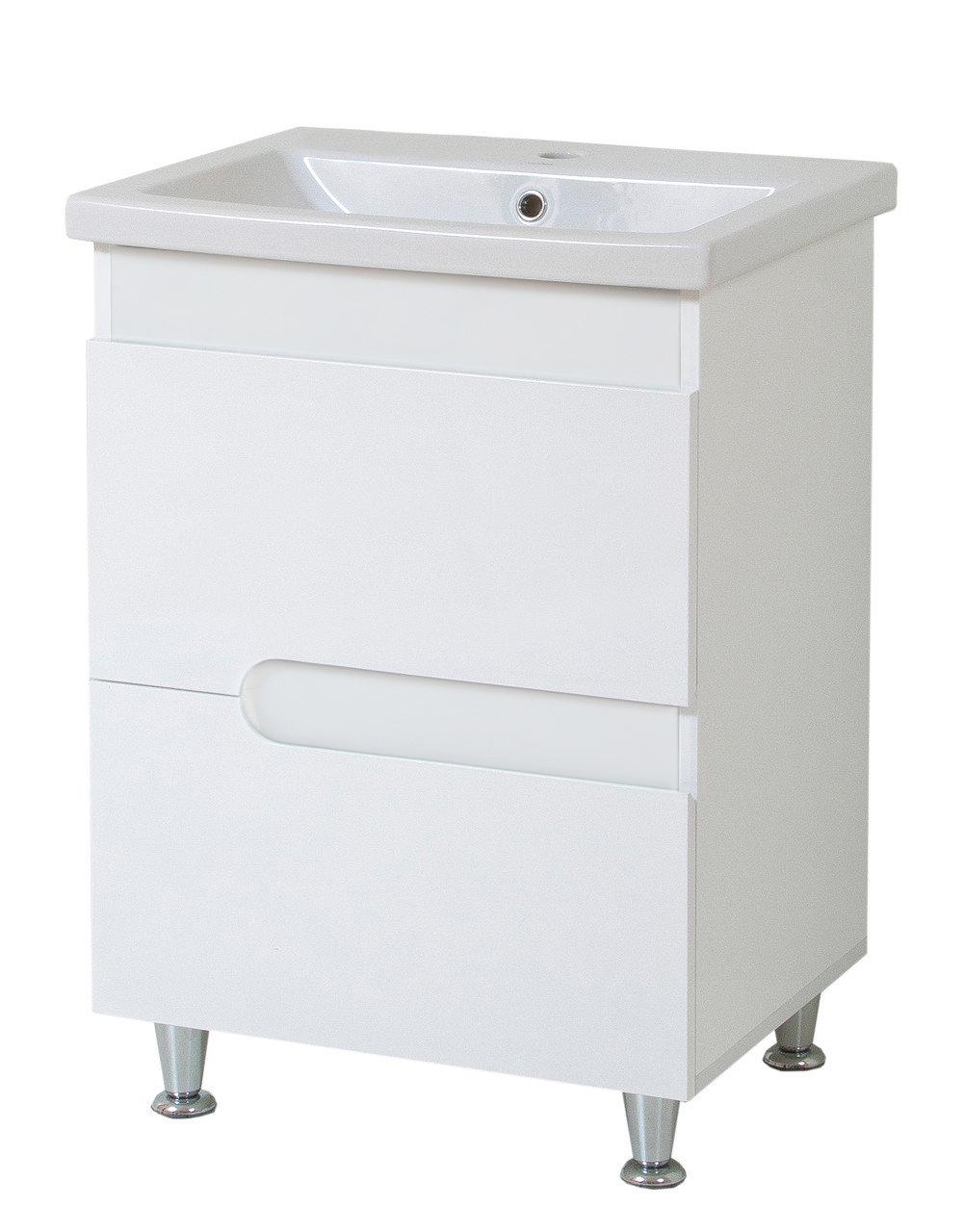 Тумба под раковину для ванной комнаты Симпл-Белый 70-30 с умывальником Комо 70 ПИК