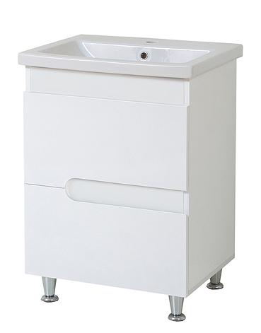 Тумба под раковину для ванной комнаты Симпл-Белый 70-30 с умывальником Комо 70 ПИК, фото 2