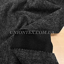 Трикотаж ангора софт на флисе черный меланж, фото 2