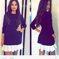 Платье трикотажное черного цвета с белой оборкой из костюмно-платьельной ткани