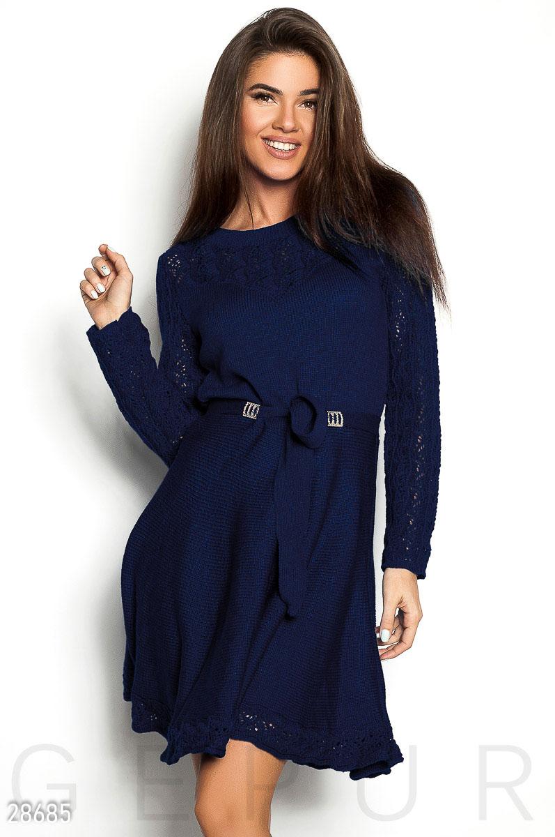 Повседневное платье мини расклешенная юбка пояс на талии цвет темно-синий