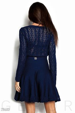 Повседневное платье мини расклешенная юбка пояс на талии цвет темно-синий, фото 2