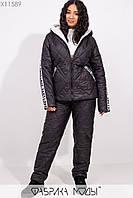 Зимний костюм из стеганной плащевки: куртка прямого кроя на рукавах накладными карманами декорированы репсовой лентой, штаны прямые с кулиской X11589