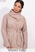 Короткое пальто-разлетайка с капюшоном, прорезными карманами и съемным поясом X11582, фото 1