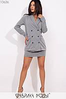Костюм-двойка:удлиненный полуприталенный пиджак на пуговках с караманами, мини-юбка на потайной молнии сзади 13636