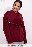 Короткое пальто-разлетайка с капюшоном, прорезными карманами и съемным поясом X11581