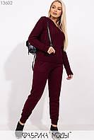 Вязаный костюм: джемпер с фактурной вязкой спереди и брюки средней посадки с кулиской и карманами на манжетах 13602, фото 1