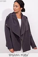 Короткое пальто-разлетайка с капюшоном, прорезными карманами и съемным поясом X11583